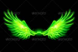 stock vector graphicriver green fire wings 5931009