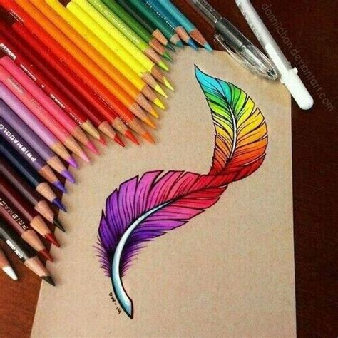 colorful drawing a colourful feather is the best of feather drawings