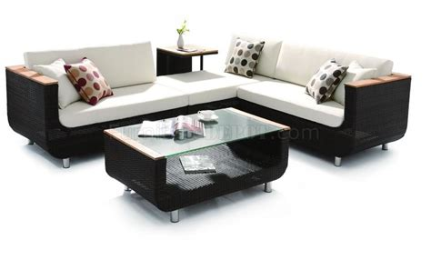Black Modern Patio Sectional Sofa W Coffee Table Sofa With Coffee Table