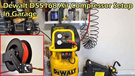 dewalt  gallon  scfm air compressor garage setup dewalt  youtube