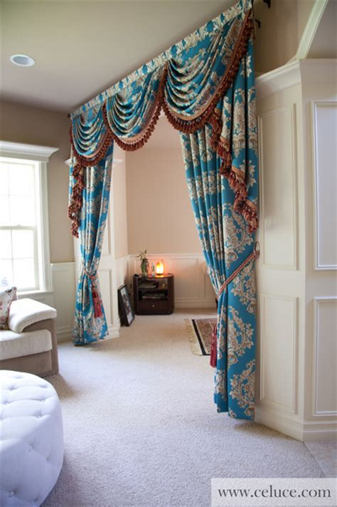 Swag Curtains For Living Room Blue Lantern Swag Valance Curtain Set Traditional Living Room Seattle By Celuce