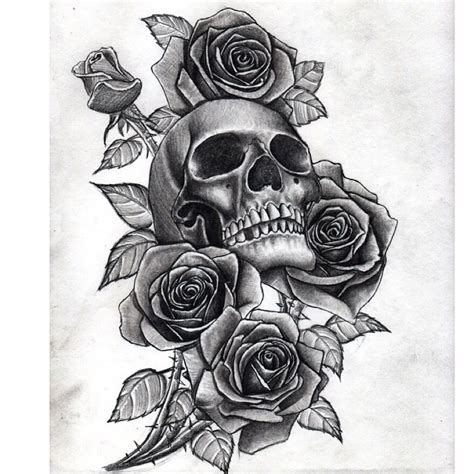 skull and rose tattoo on thigh skulls and roses drawing for a by me