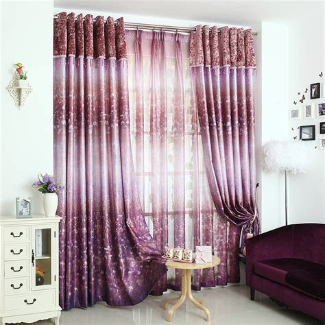 beautiful curtains purple patterned print polyester insulated beautiful