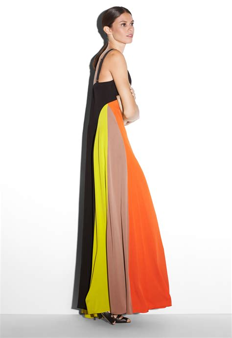 multi color maxi dress lyst milly colorblock maxi dress