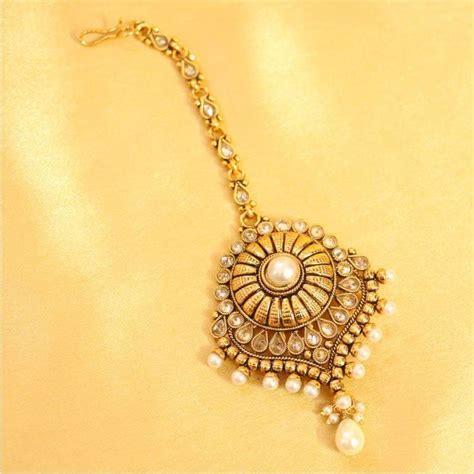 Decorative Stones For Vases Buy Pearl Amp Zircon Antique Gold Maang Tikka Online