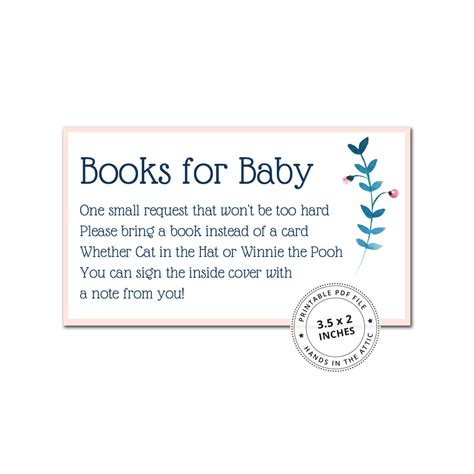 Bring A Book Instead Of A Card Printable bring a book instead of a card printable baby shower