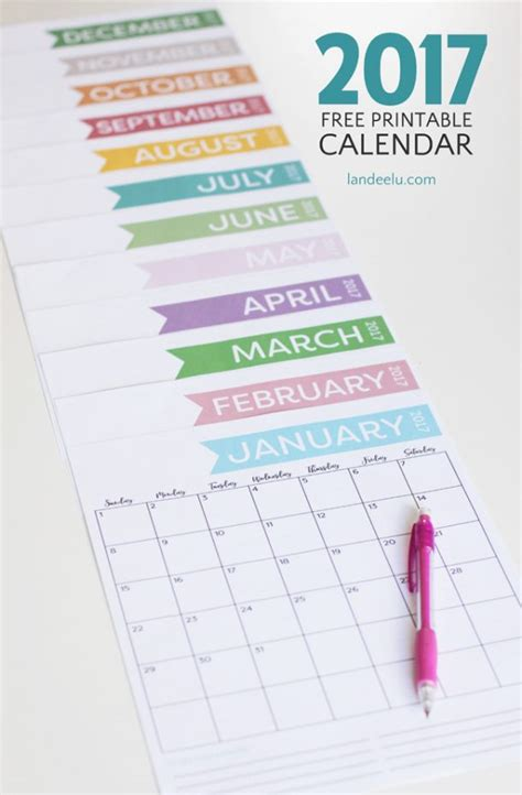 printable calendar vertical 2017 free printable calendar for 2017 get organized