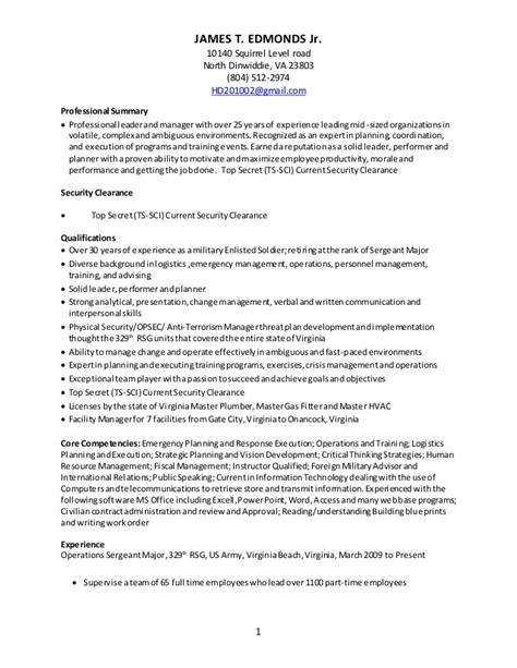 Military Resume Examples For Civilian by Edmonds Resume