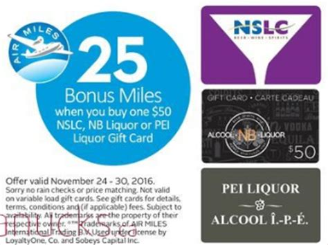 get 25 bonus air miles on nslc nb liquor and pei liquor 50 gift cards - Nslc Gift Card