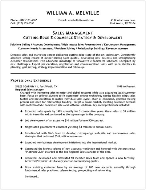 business management resume sles sales manager resume exles search resumes