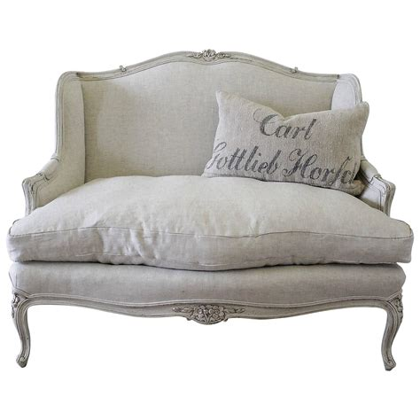 upholstered settees antique french country louis xv style painted and linen