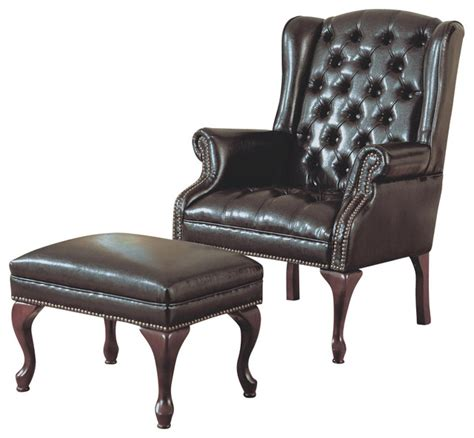 wing chair with ottoman monarch specialties 8090 wing chair and ottoman in dark