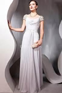 Formal long dresses scoop elegant short sleeve line long formal dress