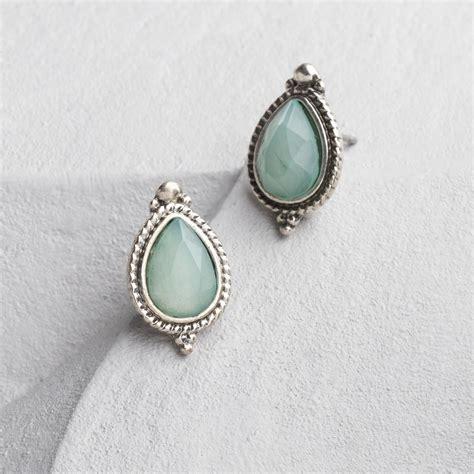 silver and pale blue teardrop stud earrings world market