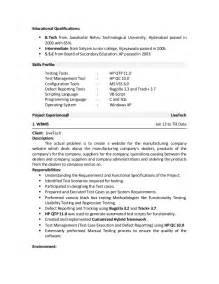 sle resume for software tester fresher software tester resume sle general manager assistant