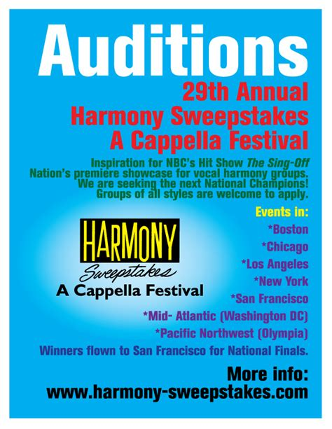 Harmony Sweepstakes - a cappella news auditions for 2013 harmony sweepstakes