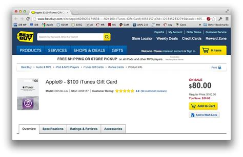 Sell My Bestbuy Gift Card - best buy again has 100 itunes gift card for 80