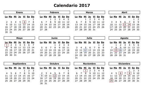 Calendario De Dias Festivos Calendario Laboral D 233 Nia 2017 Estos Ser 225 N Los D 237 As
