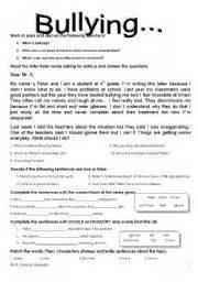 english worksheet bullying 1 5 09