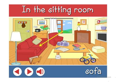 in the sitting room vocabulary with sound worksheet