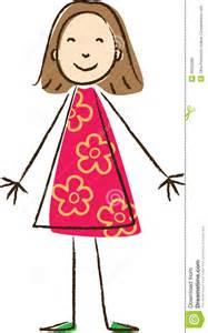Dibujo de los ni 241 os muchacha en vestido rosado con las flores