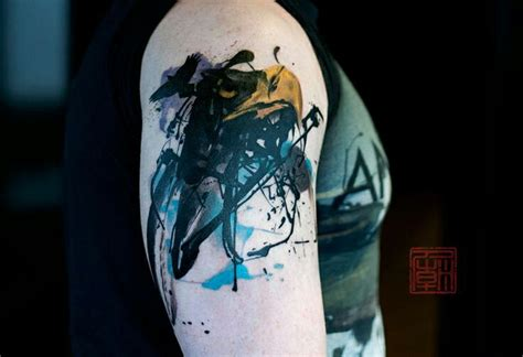 watercolor abstract bird tattoo on shoulder tattooimages biz