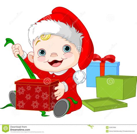 christmas baby open gift stock vector image of picture