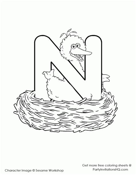 N For Nest Coloring Page by Elmo Alphabet Coloring Pages Coloring Home
