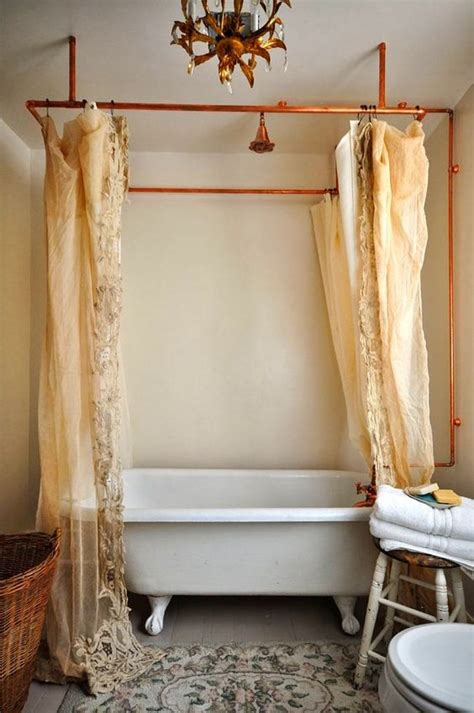 copper pipe shower curtain rod eclectic home tour vintage whites pinterest copper