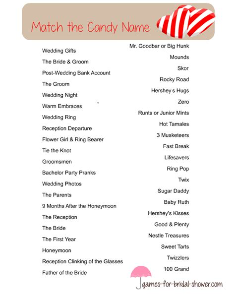 free printable bridal shower games how sweet it is free printable match the candy name bridal shower game
