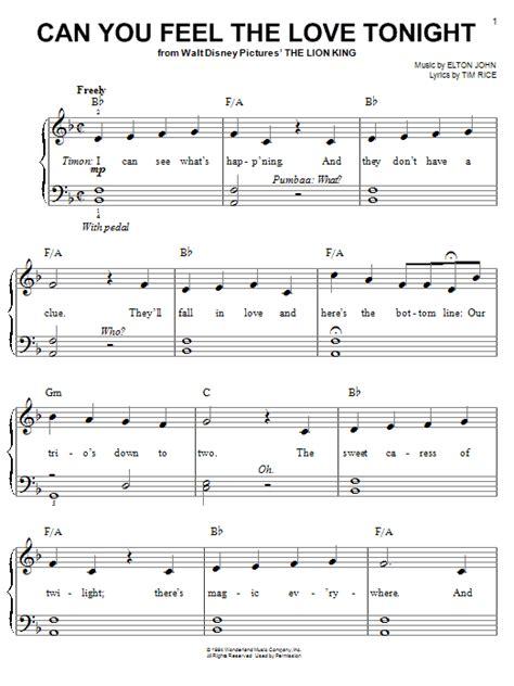 tutorial piano elton john elton john can you feel the love tonight sheet music