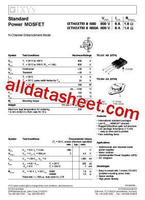 Transistor Irfz24n 6n80 datasheet pdf ixys corporation