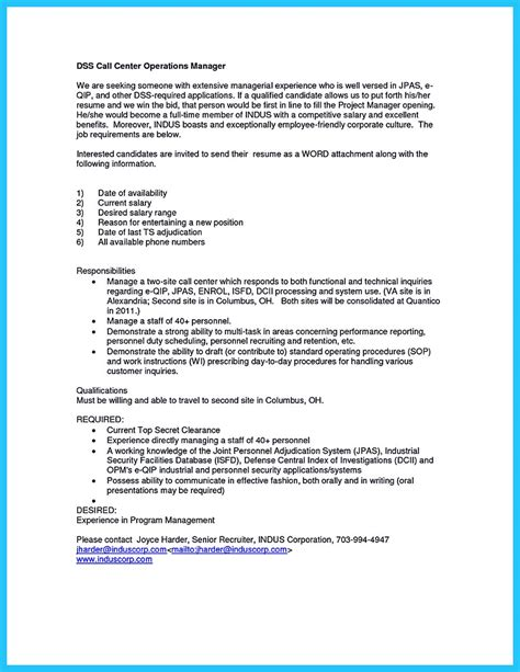 Call Center Cover Letter by Create Charming Call Center Supervisor Resume With Structure