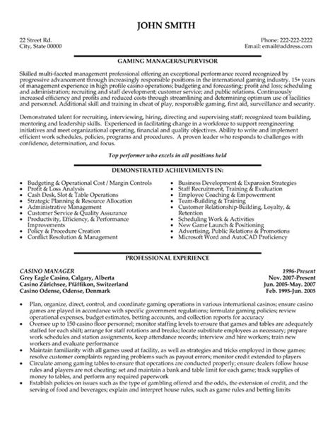 Great Resume Examples Entry Level by Casino Manager Resume Template Premium Resume Samples