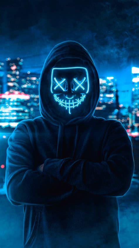 neon mask hoodie guy iphone wallpaper iphone wallpapers