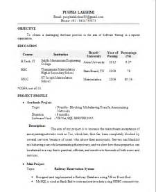 Sle Resume For Freshers Pdf by Resume Templates