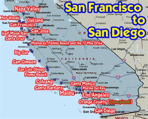 Map Of Pch From La To San Francisco - coastal california from san francisco to san diego san diego coastal and san