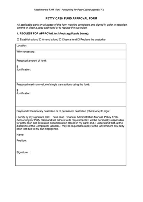 petty cash fund approval form printable