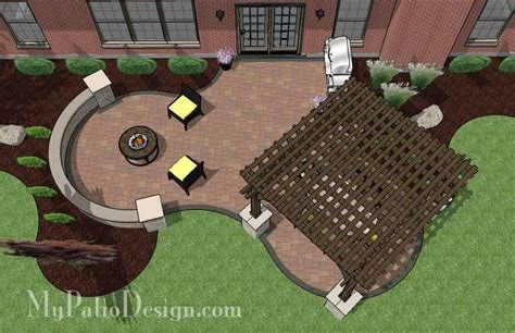 the concrete paver patio design with pergola features hot tub patio design with seat walls download plan