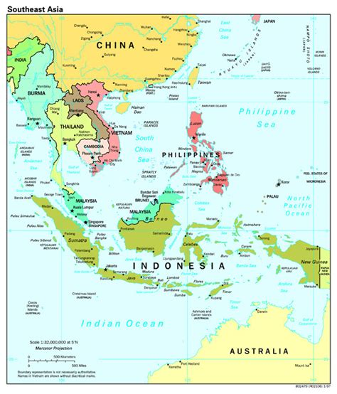 political map of asia with capitals large scale political map of southeast asia with capitals