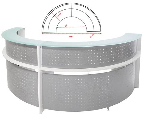 Circle Reception Desk White Semi Circular Glass Top Reception Desk