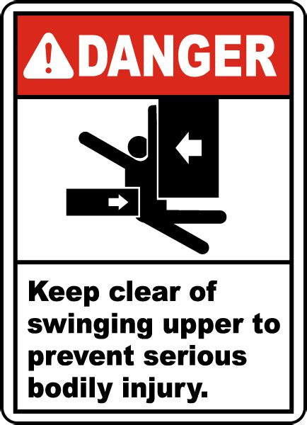 swinging lifestyle sign in keep clear of swinging upper sign e2265 by safetysign com