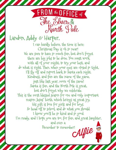 printable elf on the shelf introduction letter from santa growing up godbold elf on the shelf welcome letter with