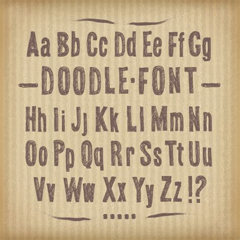 doodle font free commercial use doodle font on cardboard texture vector free