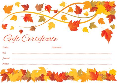 fall templates customizable to fall gift certificate template