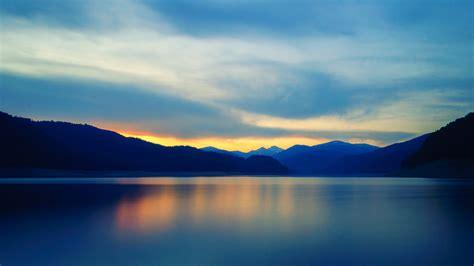 wallpaper horizon mountains lake  nature
