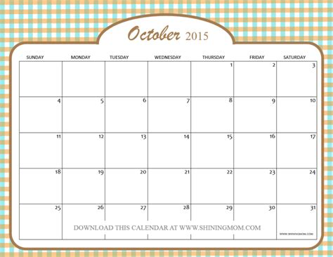 Calendar October 2015 Calendar For Oct 2015 Calendar Template 2016