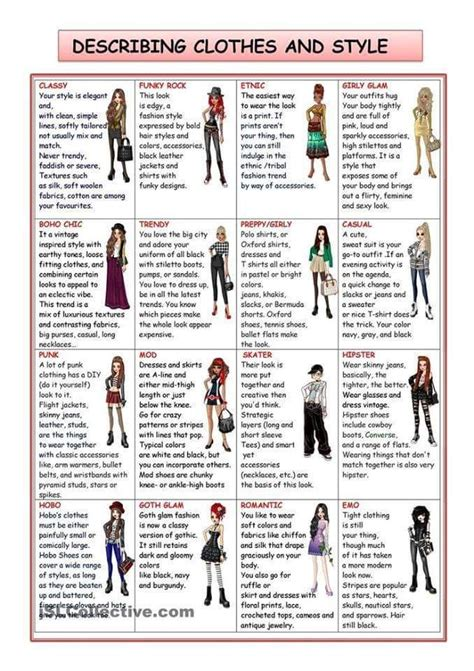style related to describing clothes and style clothes wearing