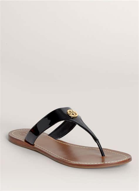 black burch sandals lyst burch cameron patent sandals in black