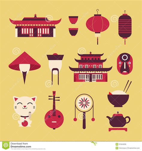 Japanese Style House Plans chineese travel icons royalty free stock photo image